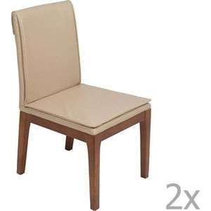 Sada 2 krémových jídelních židlí s konstrukcí z dubového dřeva Santiago Pons Donato