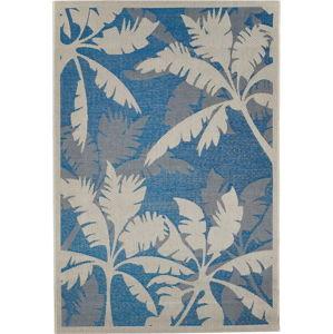 Modro-šedý venkovní koberec Floorita Palms, 135 x 190 cm