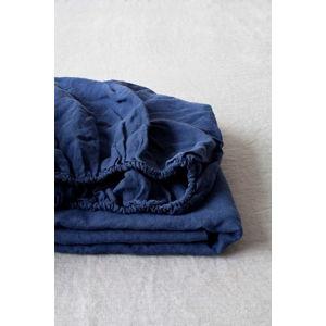 Námořnicky modré lněné elastické prostěradlo Linen Tales, 90 x 200 cm