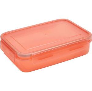 Oranžová dóza s víkem na jídlo Addis Clip And Close Rectangular Coral, 1,1 l