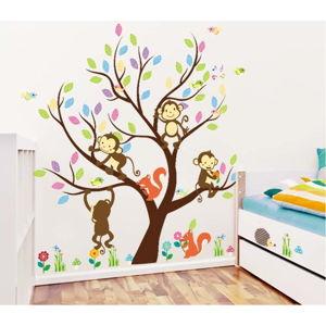 Sada nástěnných dětských samolepek Ambiance Monkey On The Tree