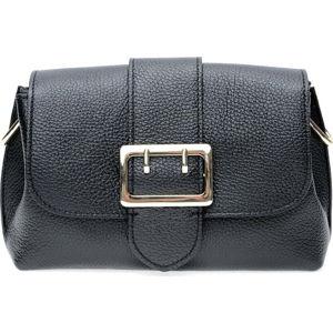 Černá kožená taška přes rameno se 3 kapsami Isabella Rhea
