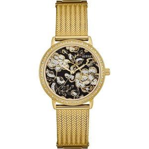 Dámské hodinky ve zlaté barvě s páskem z nerezové oceli Guess W0822L2