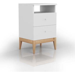 Noční stolek z masivního borovicového dřeva SKANDICA Livia 2S Plus