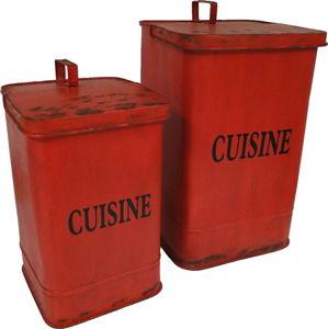 Sada 2 červených odpadkových košů Antic Line Cuisine
