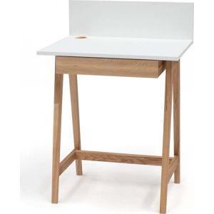 Bílý psací stůl s podnožím z jasanového dřeva Ragaba Luka,délka65cm