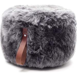 Šedý puf z ovčí kožešiny s hnědým detailem Royal Dream,⌀ 60cm