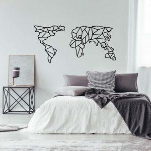 Černá kovová nástěnná dekorace Geometric World Map, 150 x 80 cm