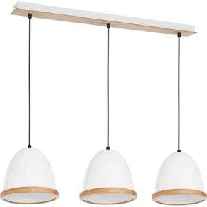 Bílé závěsné svítidlo s dřevěnými detaily Studio Tres