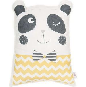 Žlutý dětský polštářek s příměsí bavlny Apolena Pillow Toy Panda, 25 x 36 cm