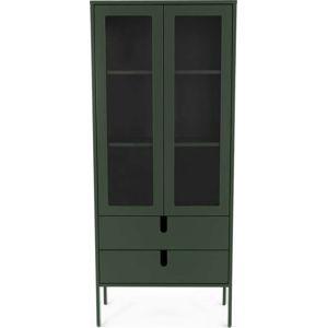 Tmavě zelená vitrína Tenzo Uno, šířka 76cm