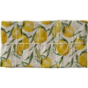 Sada 4 látkových ubrousků s příměsí lnu Linen Couture Lemons, 43 x 43 cm
