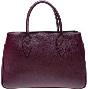 Vínově červená kožená kabelka Anna Luchini, 23 x 34.5 cm