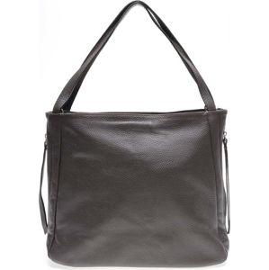 Tmavě hnědá kožená kabelka se 3 vnitřními kapsami Carla Ferreri