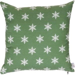Zelený vánoční povlak na polštář Apolena Shine Snow, 43x43cm