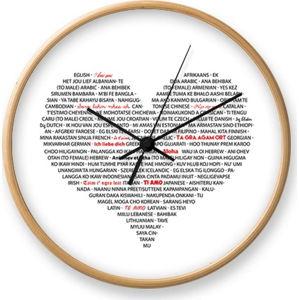 Nástěnné hodiny z dubového dřeva Tomasucci I Love You