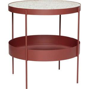 Tmavě červený železný odkládací stolek s mramorovou deskou Hübsch Perro