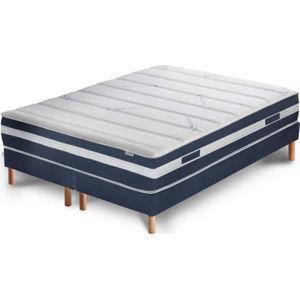 Tmavě modrá postel s matrací a dvojitým boxspringem Stella Cadente Maison Venus Europe, 160x200 cm