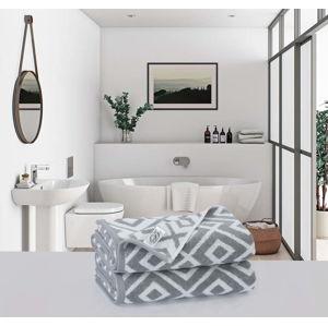 Sada 2 šedých bavlněných osušek Descanso Risso, 70 x 140 cm
