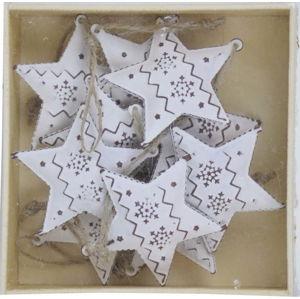 Sada 10 bílých vánočních ozdob z kovu ve tvaru hvězdy Ego Dekor Christmas Box