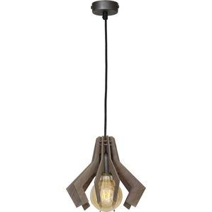 Černé závěsné svítidlo s dřevěným detailem Glimte Pat Uno Beech