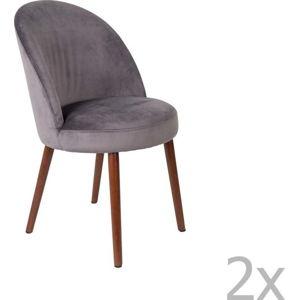 Sada 2 šedých židlí Dutchbone Barbara