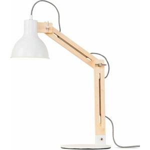 Bílá stolní lampa s konstrukcí z jasanu Citylights Melbourne