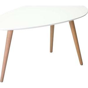 Bílý konferenční stolek s nohami z bukového dřeva Furnhouse Fly,75x43cm