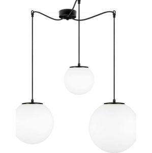 Bílé závěsné svítidlo se 3 stínidly a objímkou v černé barvě Sotto Luce TSUKI