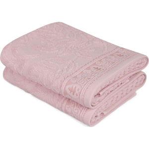 Sada 2 růžových bavlněných ručníků na ruce Catherine, 50 x 90 cm