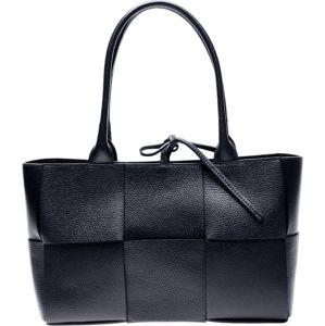 Černá kožená kabelka Anna Luchini, 24 x 45 cm