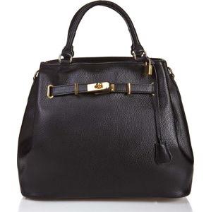 Černá kožená kabelka Massimo Castelli Efrem