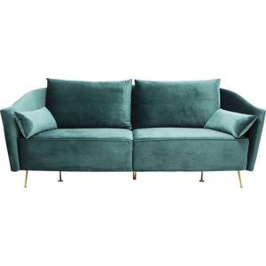 Tyrkysově modrá sametová pohovka Kare Design Vegas Forever