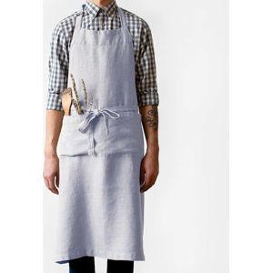 Světle šedá lněná zástěra Linen Tales Chef, délka 100cm