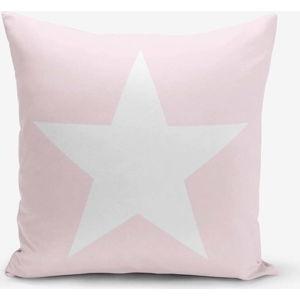 Povlak na polštář s příměsí bavlny Minimalist Cushion Covers Star Pink, 45 x 45 cm