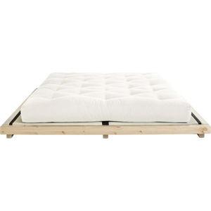Dvoulůžková postel z borovicového dřeva s matrací a tatami Karup Design Dock Comfort Mat Natural Clear/Natural, 160 x 200 cm