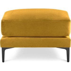 Žlutá sametová podnožka Kooko Home Harmony
