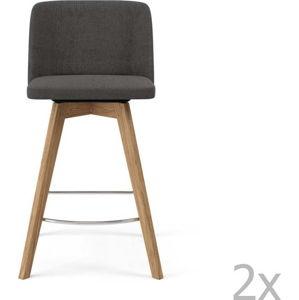 Sada 2 šedých barových židlí Tenzo Tom, výška 89cm