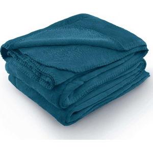 Indigově modrá deka z mikrovlákna AmeliaHome Tyler, 220 x 240 cm