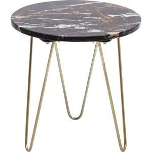 Černý odkládací stolek s mramorovou deskou Kare Design Key Largo, ø 35 cm
