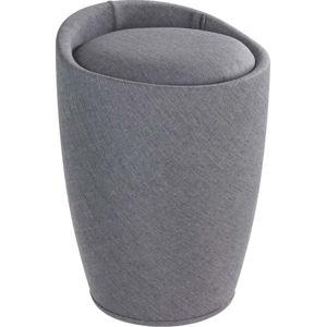 Šedý koš na prádlo a taburetka v jednom Wenko Linen Look, 20 l