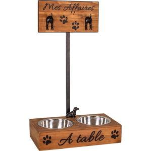 Misky pro psy ve stojanu s cedulkou Antic Line,19x60cm