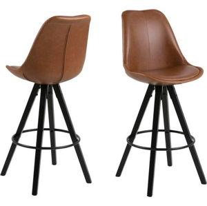 Sada 2 hnědých barových židlí Actona Damia