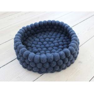Tmavě modrý kuličkový vlněný úložný košík Wooldot Ball Basket, ⌀ 28 cm