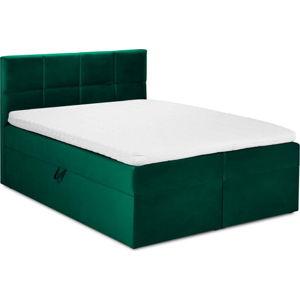 Zelená sametová dvoulůžková postel Mazzini Beds Mimicry,180x200cm
