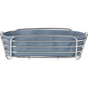 Šedomodrá ošatka na pečivo se stojanem ve stříbrné barvě Blomus