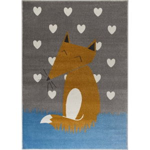 Šedý koberec s motivem lišky KICOTI Grey, 133 x 190 cm