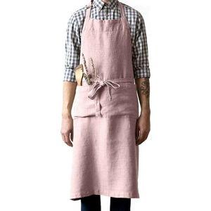 Světle růžová lněná zástěra Linen Tales Chef, délka 100cm