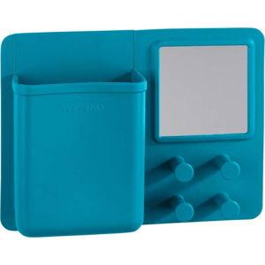 Modrý silikonový nástěnný organizér s háčky a zrcátkem Wenko Ampio