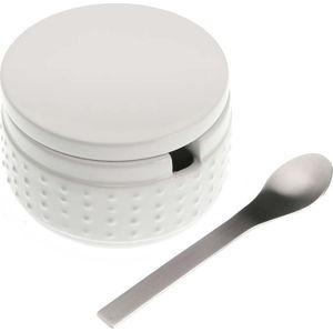 Set bílé kameninové dózy na cukr se lžičkou Versa Spoon